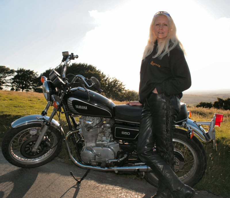 Lyn Watts with her 1978 XS650D overlooking Okehampton