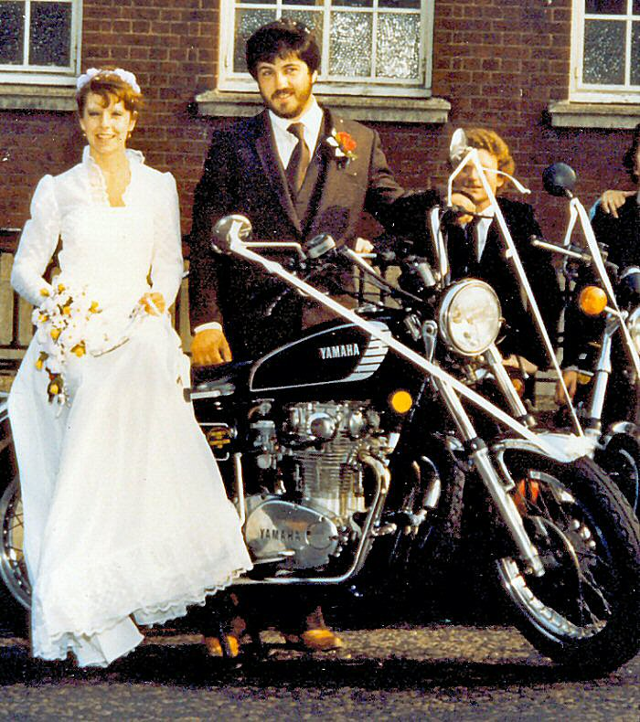 Paul & Lyn Watts marriage at Woolwich  Regisrty Office with Yamaha XS650D